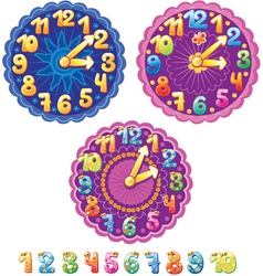 Funny clock for kids and numbers vector image