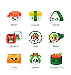 kawaii sushi bar icons vector image vector image