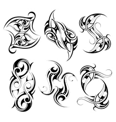 Set of tribal tattoo shapes vector image vector image