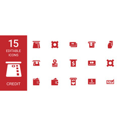 15 credit icons vector image