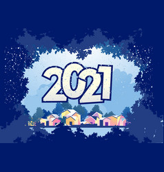 2021 horizontal english city calendar vector image