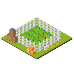 3d design for farm scene with crops and chickens vector