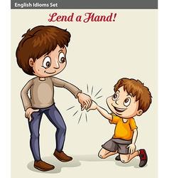 A boy lending his hand vector