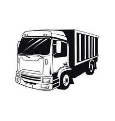 american truck - black and white vector image