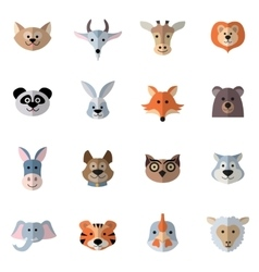 Animals Heads Flat vector image vector image