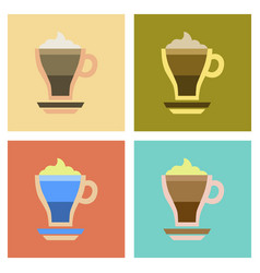 Assembly flat icons cup coffee mocha vector