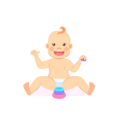 Baby milestones eight month child playing pyramid vector