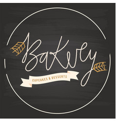 bakery ribbon malt circle frame background vector image