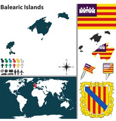 Balearic Islands map world vector