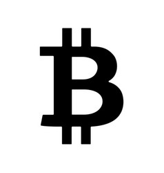 black bitcoin sign icon isolated on white vector image