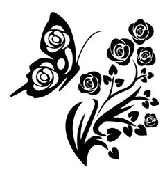 black butterfly and flowers vector image vector image