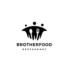 Brother food people group human fork spoon logo vector