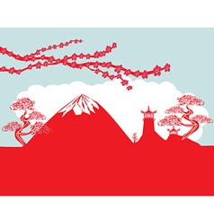 Card with Asian buildings and Mount Fuji Fujiyama vector