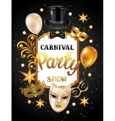 Carnival invitation card with gold masks and vector