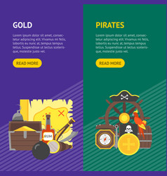 cartoon pirate signs banner vecrtical set vector image