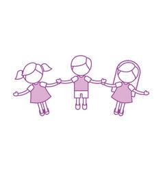 Children holding hands characters vector