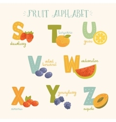 colorful fruit alphabet vector image