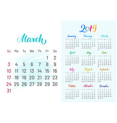 Colorful planner 2019 march separately vector