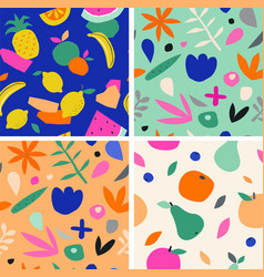 colorful seamless pattern in paper cutout style vector image