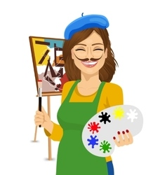 cute female artist with funny mustache vector image