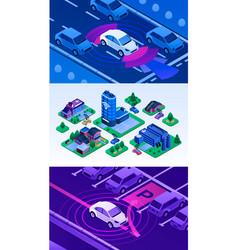 Driverless car banner set isometric style vector