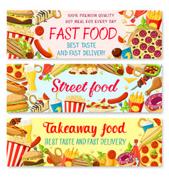 Fast food restaurant menu banners vector