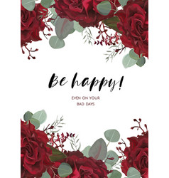 Floral greeting card design with red flowers vector