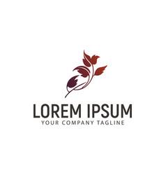 floral leaf logo design concept template vector image
