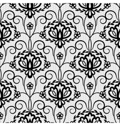 Floral seamless black lace pattern vector