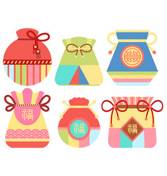Fortune bag for luck chinese tradition vector
