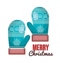 gloves blue lettering merry christmas design vector image