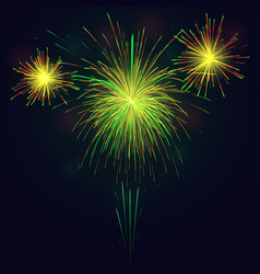 golden green fireworks over night sky holidays vector image