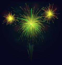 golden green fireworks over night sky holidays vector image