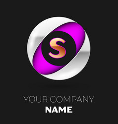 golden letter s logo in the silver-purple circle vector image