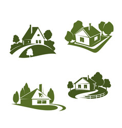 Green eco house icon for real estate design vector