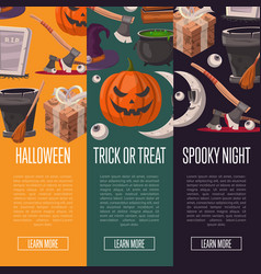 halloween party cartoon flyers set vector image