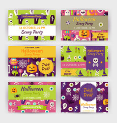 Halloween Party Template Invitation Modern Flat vector image