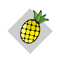 Hand drawn pineapple on the dot pattern vector