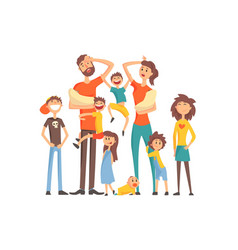 happy caucasian family with many children portrait vector image