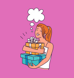 happy woman with big gift boxes and blank thought vector image