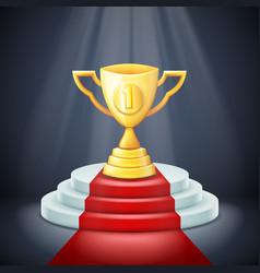 illuminated cup on stage light award podium vector image