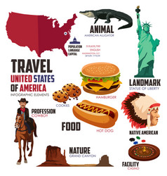 infographic elements for traveling to usa vector image