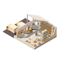 isometric 3d warehouse with parking shipment vector image