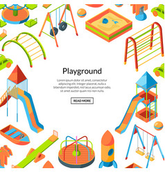 isometric playground objects happy vector image