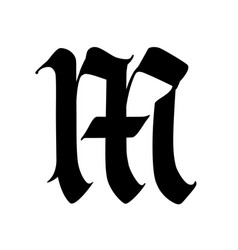 Letter m in gothic style alphabet symbol vector
