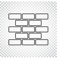line style wall brick icon in flat style on vector image