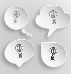 Little man with globe White flat buttons on gray vector