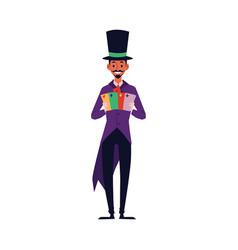 magician performing card trick - cartoon man vector image