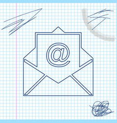 mail and e-mail line sketch icon isolated on white vector image
