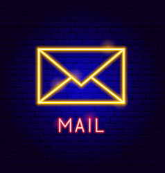 Mail neon label vector